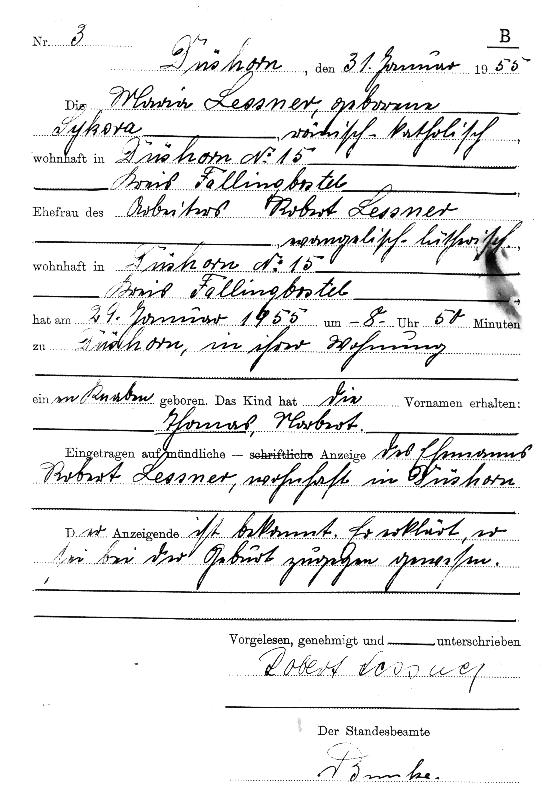 handgeschriebener geburtseintrag im geburtenregister